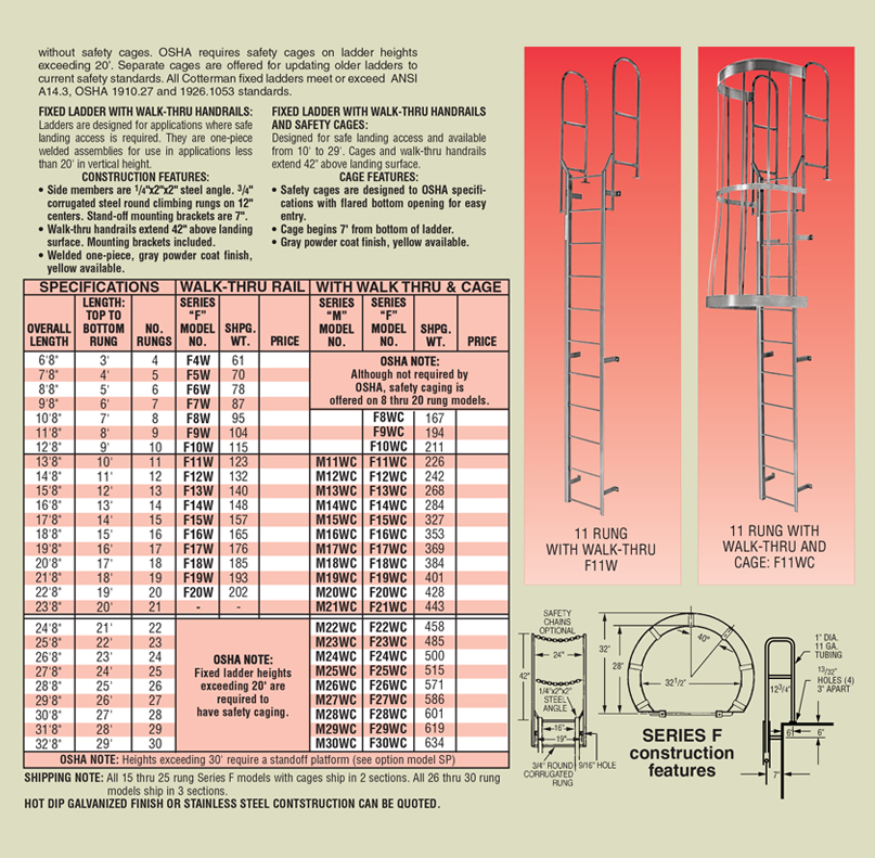 Cotterman Series F Standard Fixed Steel Ladders
