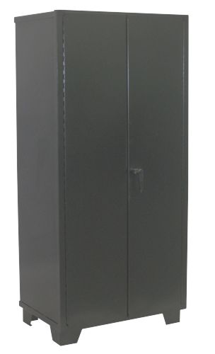 Heavy duty all welded storage cabinet made with 14 gauge steel and solid  doors. Ideal for industrial applications, this