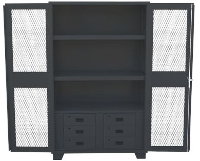 Heavy Duty All Welded Storage Cabinet Made With 14 Gauge Steel And  Clearview Mesh Or Solid Doors. Bottom Of Cabinet Comes With Bay Of 6  Pull Out Lockable ...