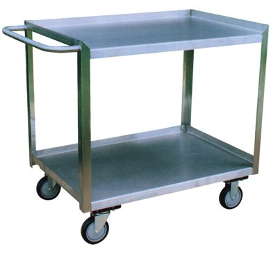 Stainless Steel Two Shelf Cart with Flush Front Edge