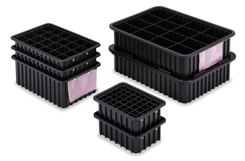 dc graves esd safe conductive divider tote boxes