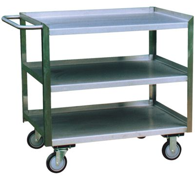 Three Shelf Stainless Steel Cart with Flush Front Edge