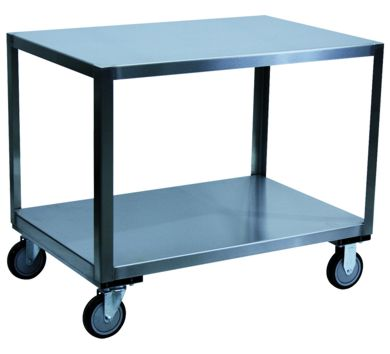 Two Shelf Stainless Steel Mobile Table