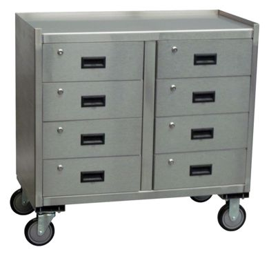 Stainless Steel Mobile Cabinet w/ Eight Drawers